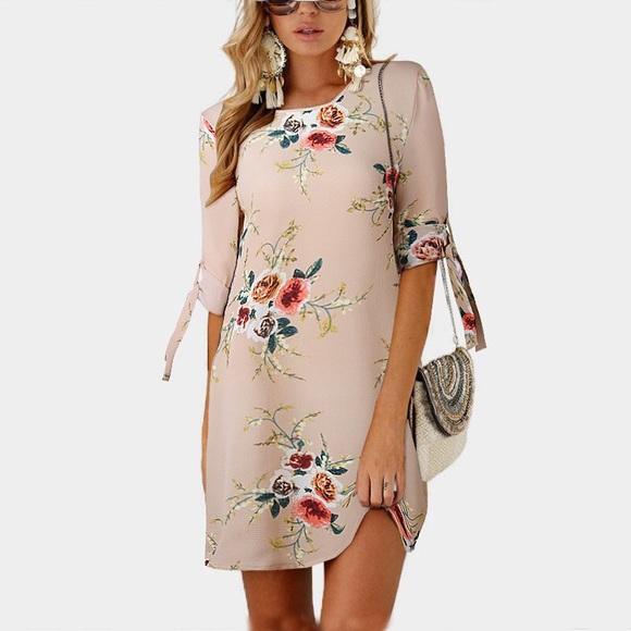 Simply Lotus Dresses & Skirts - Beige Floral Chiffon Mini Sundress [O]